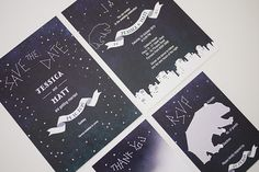 Starry Night City Wedding Invitation Printable Set by 3EggsDesign, $85.00