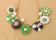 New Arrival Gold Alloy Chain Necklace With Nice Floral ArtificialGemstone