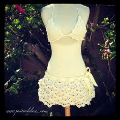 White Russian Positively Lace Skirt bathing suit cover up free crochet pattern