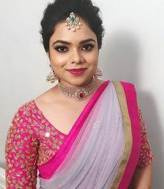 Engagement hair and makeup for stunning Moni. Kerala Saree Blouse Designs, Wedding Saree Blouse Designs, Saree Blouse Neck Designs, Fancy Blouse Designs, Wedding Sarees, Blouse Patterns, Lehenga Saree Design, Lehenga Blouse, Half Saree