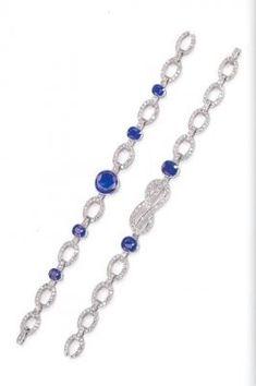 Coppia di bracciali in platino, zaffiri e diamanti della collezione privata della famiglia Savoia