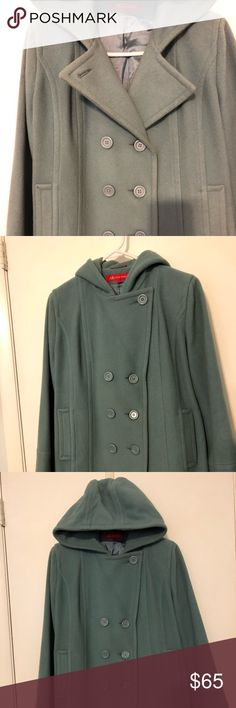 Gorgeous light blue Anne Klein wool peacoat Looking stylish? Done. Keeping warm?  Done. Get the best of both worlds in this pretty peacoat by Anne Klein. 80% wool, 20% nylon with a 100% acetate lining, this coat will take you into spring with a smile. Hits mid thigh. Dry clean only. Non smoking home. Anne Klein Jackets & Coats Pea Coats