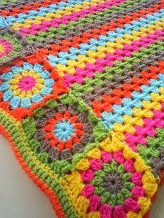 granny stripe blanket with granny square edging!