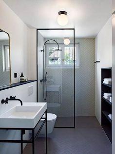Bathroom decor for your bathroom remodel. Discover bathroom organization, bathroom decor ideas, bathroom tile ideas, bathroom paint colors, and more. Simple Bathroom, Modern Bathroom Design, Bathroom Interior Design, White Bathroom, Boho Bathroom, Small Elegant Bathroom, Long Narrow Bathroom, Wet Room Bathroom, Small Basement Bathroom