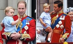Prince George made his debut on the balcony of Buckingham Palace wearing exactly the same baby-blue romper suit his dad, Prince William, wore during his first appearance 31 years ago (pictured)