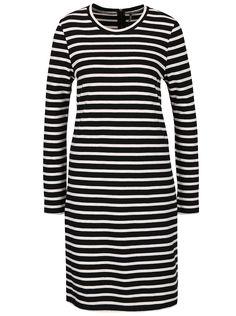 5e0957520a0 Bílo-černé volnější pruhované šaty ONLY Mettis
