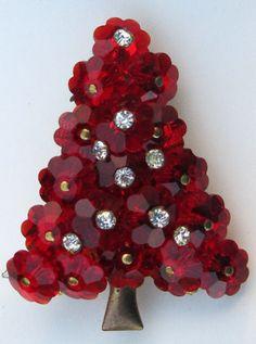Vintage Red Glass Margarita Bead Rhinestone Christmas Tree Pin Brooch Estate