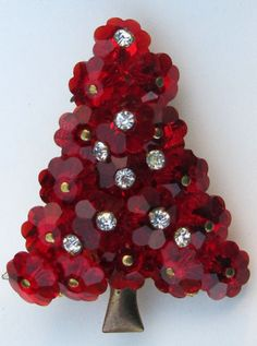 Vintage Red Glass Margarita Bead Rhinestone Christmas Tree Pin Brooch Estate