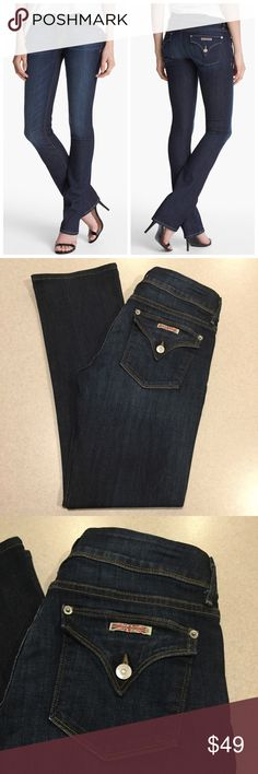 Hudson Jeans 29X30.5 Beth Baby Bootcut In Ico! Hudson Jeans Beth baby bootcut Ico wash! (Modeled pictures are of exact fit and wash my lighting is just not as bright) Size 29 30.5 inch petite inseam A pretty vibrant dark blue denim with stretch! Only worn a few times Perfect condition! All of my items come from a smoke free, pet free home and are authenticity guaranteed. Please ask any questions, no returns for fit issues. 134-1 Hudson Jeans Jeans Boot Cut