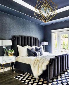 The very nice looking Emerson Bed has channeled upholstered headboard and footboard with nailhead trim between channels and around frame. Contemporary Bedroom, Modern Bedroom, Home Decor Bedroom, Bedroom Furniture, Bedroom Ideas, Bedroom Designs, Cheap Furniture, Furniture Makeover, Masculine Interior