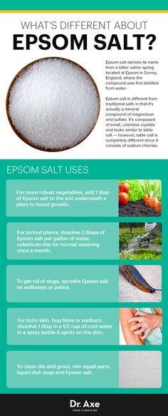 Epsom salt uses - Dr. Axe http://www.draxe.com #health #holistic #natural #recipe