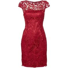 Adrianna Papell All over guipure lace dress ($260) ❤ liked on Polyvore featuring dresses, red, women, red lace dress, knee length cocktail dresses, red cocktail dress, lace cap sleeve dress and adrianna papell dresses