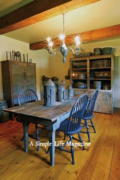 From our 2015 Summer Issue of A Simple Life Magazine - the NY State home of Jean Salisbury-Elden #PrimitiveDiningRooms