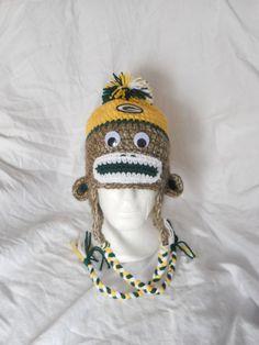724144050235b Green Bay Packers Football Crochet Sock Monkey Hat by CDBSTUDIO, $34.99