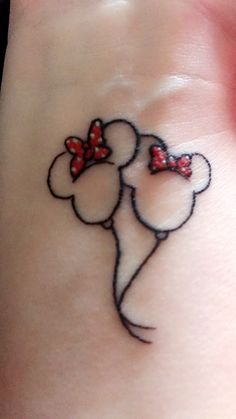 Minnie Mouse Balloons to represent my two beautiful daughters #minniemouse #tattoo #mygirls