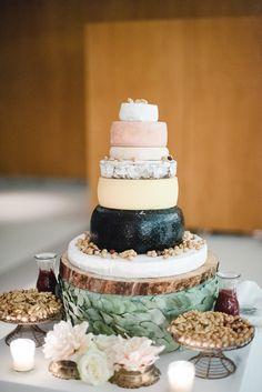 Cheese Tower Wedding Cake - Images by Padilla & Rigau | Laure de Sagazan Wedding Dress | Rainy Outdoor Wedding at La Garriga De Castelladral in Barcelona | Pink Bridesmaid Dresses & Flowers | Cheese Tower Wedding Cake