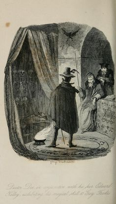"Guy Fawkes with Dr. Dee and Edward Kelly, as illustrated by Cruikshank for Ainsworth's ""Guy Fawkes"" book."