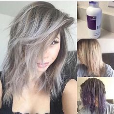 NO YELLOW SHAMPOO magic in few steps from top right to down and results  after one