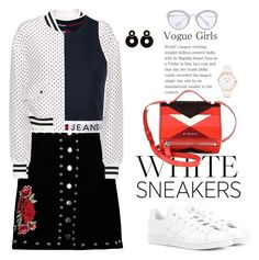 So Fresh: White Sneakers by ellie366 on Polyvore featuring polyvore fashion style Tommy Hilfiger Dolce&Gabbana Boohoo adidas Originals Givenchy Abbott Lyon Miu Miu clothing croptop dots bomberjacket denimskirt whitesneakers