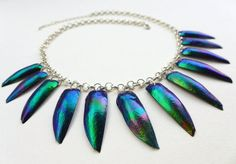 Jewel Beetle Necklace  blue with purple and turquoise by Skullbag