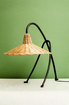 "Lampe ""Edith"" via Goodmoods Light Table, Lamp Light, Rattan Lamp, Carpet Installation, Fashion Lighting, Southwestern Style, Light Decorations, Cool Furniture, Wicker"