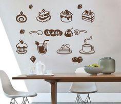 Coffee Cake Shop Juice Bar Window Stickers Wall Decal Vinyl Business Sign Decor