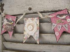 Handmade Spring Banner Vintage Bird Art Vintage Bird by QueenBe