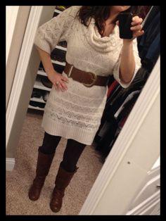 Cream sweater dress, leggings, boots