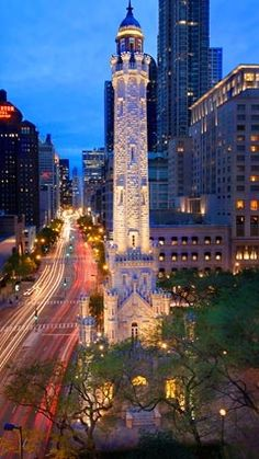 Water Tower.  Looking South down Michigan Avenue.