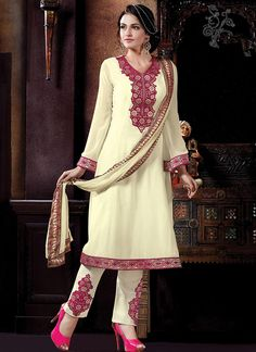 Buy Cream Embroidered Georgette Straight Pant Suit online from the wide collection of straight-pant-suit.  This Cream colored straight-pant-suit in Faux Georgette fabric goes well with any occasion. Shop online Designer straight-pant-suit from cbazaar at the lowest price.