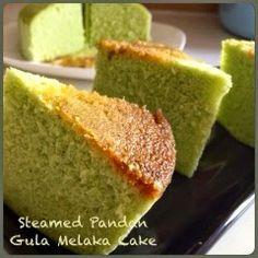 Steamed Pandan Gula Melaka Cake 蒸香兰椰糖蛋糕 // 50g water*, 8~10g pandan leaves*, 10g coconut powder*, 10g condensed milk, 10g vegetable oil,  35g palm sugar, 1 t hot water, 2 egg whites, 1/4 t lemon juice, 50g sugar, 2 egg yolks  75g top flour 1/4 t baking powder