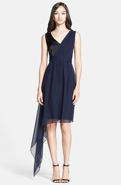 St. John Collection Side Drape Liquid Satin & Silk Georgette Dress available at #Nordstrom