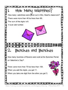 The kids will will love these math task cards from Valentine's Day Math Games, Puzzles and Brain Teasers from Games 4 Learning $