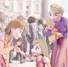 Anna playin with Elana and Elsa holding her other niece Autumn Anna Frozen, Anna Y Elsa, Frozen And Tangled, Frozen Book, Disney Princess Movies, Disney Princesses And Princes, Disney Movies To Watch, Princess Anna, Disney Fan Art