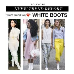 """""""NYFW Trend Report: White Boots"""" by polyvore-editorial ❤ liked on Polyvore featuring NYFW, Whiteboots and pvnyfw"""