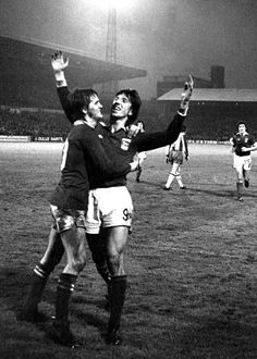 Ipswich Town 7 West Brom 0 in Nov 1976 at Portman Road. Paul Mariner celebrates a goal with Trevor Whymark #Div1