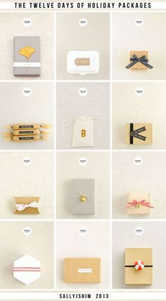 Gifts Wrapping & Package : 12 handmade holiday packaging ideas / the twelve days of holiday packages / sallyjshim Pretty Packaging, Gift Packaging, Packaging Ideas, Christmas Gift Wrapping, Christmas Crafts, Grafik Design, Paper Goods, Gift Tags, Holiday Packages