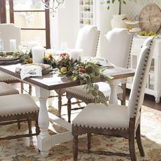 Broderick Linen Dining Chair with Cafe Wood Linen Dining Chairs, Dining Furniture Sets, Farmhouse Dining Room Table, White Dining Table, Wooden Dining Tables, Dining Room Sets, Dining Room Design, Home Furniture, Rustic Farmhouse