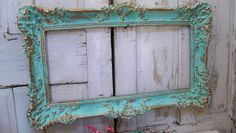 Large+aqua+blue+frame+ornate+vintage+accented+by+AnitaSperoDesign,+$250.00