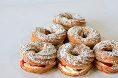 Paris Brest:  Pate a Choux, Whipped Cream, Pastry Cream and Fresh Strawberries...