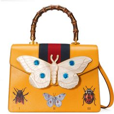 Gucci Leather Top Handle Bag With Moth ($3,060) ❤ liked on Polyvore featuring bags, handbags, top handles & boston bags, women, yellow, leather man bags, butterfly purse, leather purses, genuine leather purse and leather handbags