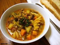Ground beef and vegetable soup. The perfect winter meal!
