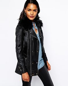 River Island Premium Real Leather Faux Fur Biker Coat