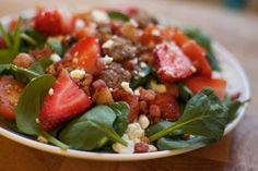 Strawberry Spinach Salad with Goat Cheese, Pancetta, and Bourbon Candied Pecans! YUM!!!!