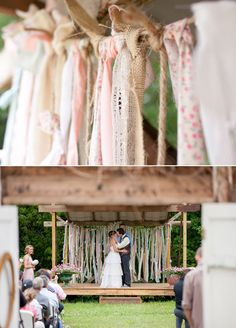 This is how I want my alter to look - fabric streamer background - perfect for a vintage farm wedding!