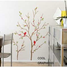 Tree Branches with Birds-Vinyl Wall Decal Sticker Art,Wall Hanging, Mural. $29.50, via Etsy.