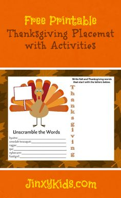 Fun and free printable Thanksgiving placemat with activities!