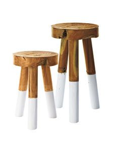 Dip-Dyed Stools FUN FAMILY ROOM SIDE TABLE OR GUEST ROOM SIDE TABLE