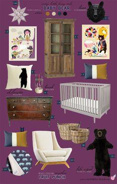 California Peach: Baby Bear | Nursery -- Purple, Plumb, Dark, Girl, Bears, Goldilocks, Grey, Baby Room, Nursery, Dark Wood, Toddler Room, Wild, Natural, Nature, Decor, Nursery, Baby Room, Style Board, Mythic Paint, Oeuf, Crib, Non-Toxic, Green 0VOC, Eco Friendly, Organic