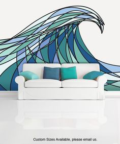 Wall Mural Decal Sticker Decani Ocean Wave Color from StickerBrand. Saved to Quick Saves. Deco Design, Wall Design, Deco Surf, Washi Tape Wall, Wave Drawing, Wall Mural Decals, Vinyl Decals, School Murals, Tape Art